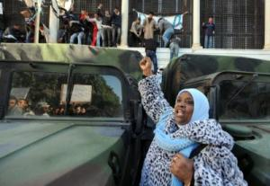 Demonstrators at the government palace in Tunis on Jan. 23, 2011 - Fethi Belaid, Getty Images