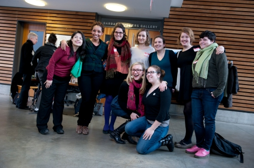 Scholars in the Women's History Program left to right: Maria, Tiffany, Emma, Catie, Sian, Emilie, Parisa; in front: Brittany and Ruth.