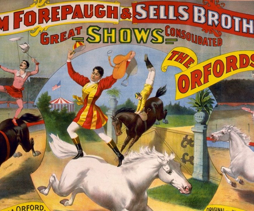 poster of Adam Forepaugh & Sells Brothers circus acts