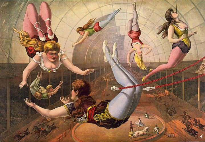 lithograph of women trapeze artists performing at circus
